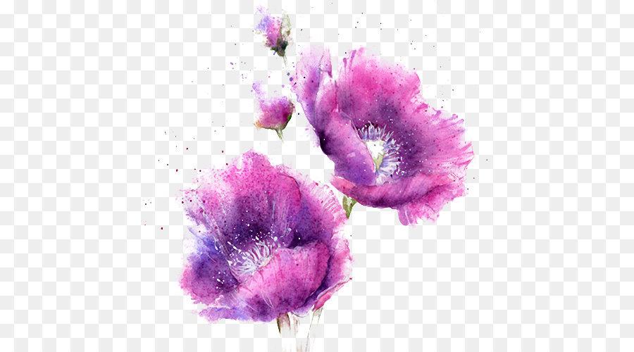 Watercolor Painting Purple Flowers
