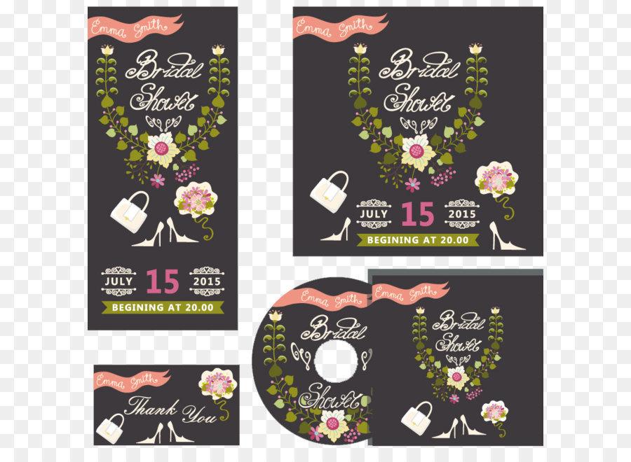 Floral Wedding Invitation Card Design Vector Material Png Download