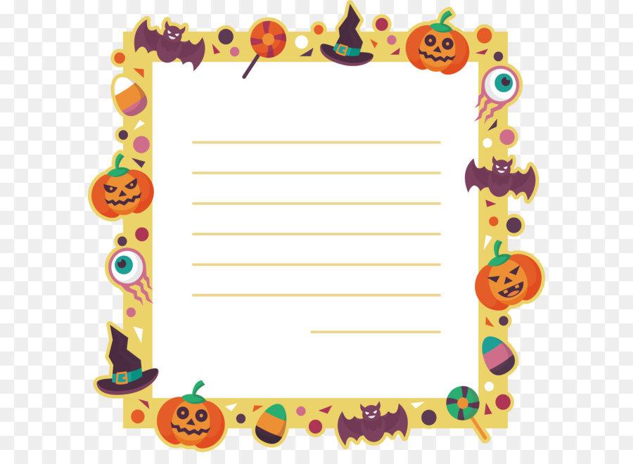 cartoon border halloween message card png download 3086 3055