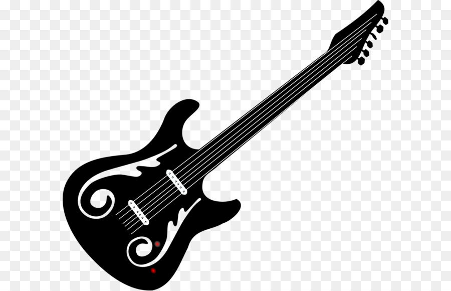 bass guitar black and white electric guitar clip art