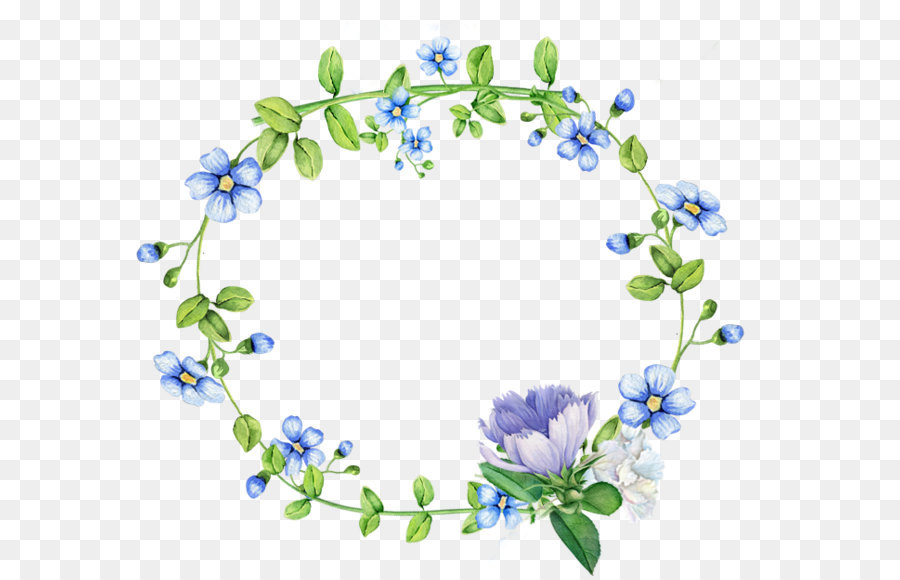 blue flowers wreath border png download - 700 620