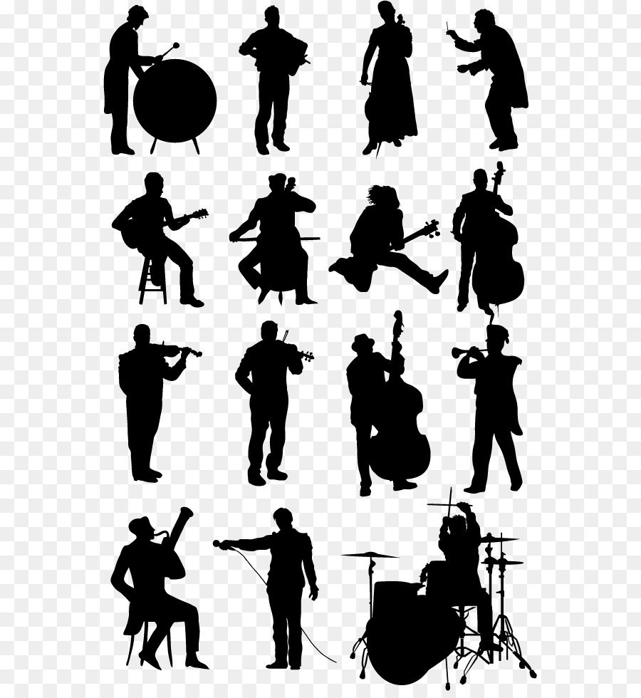 musicians silhouette vector material download png download 609