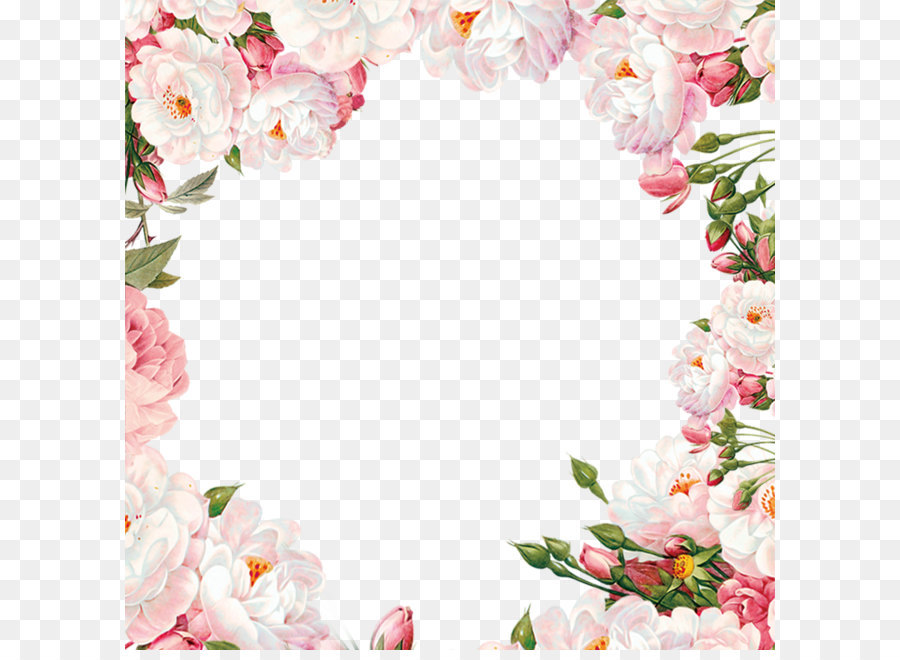 Hand Painted Flower Frame Material Png Download 10001000 Free