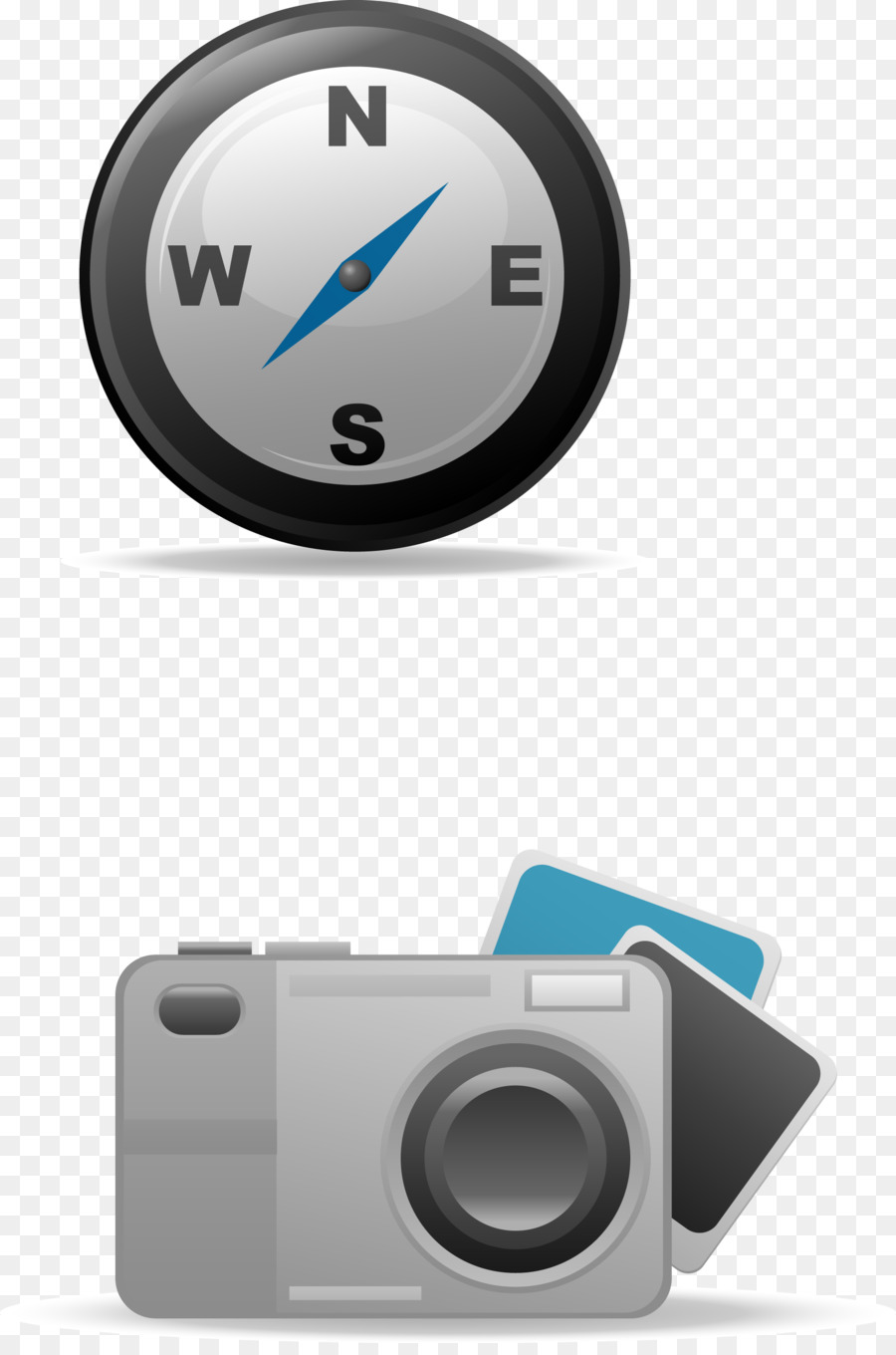 Compass on dark background. Compass application on mobile. Vector.