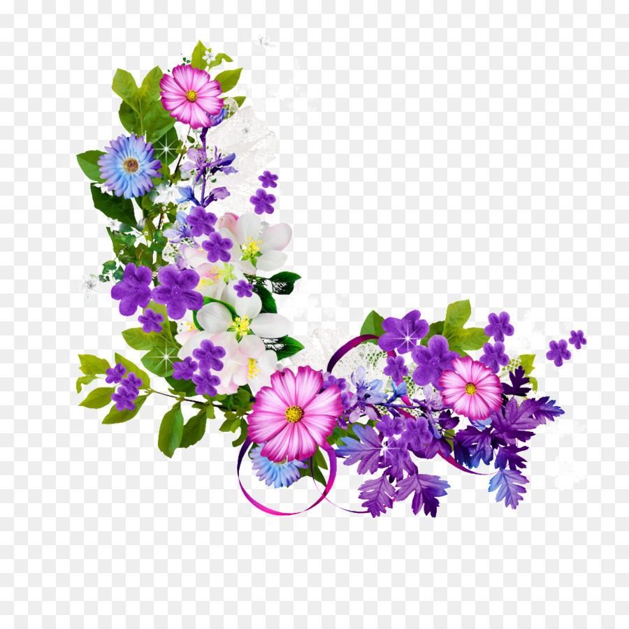 Flower - Bouquet of purple flowers border png download - 1024*1024 ...