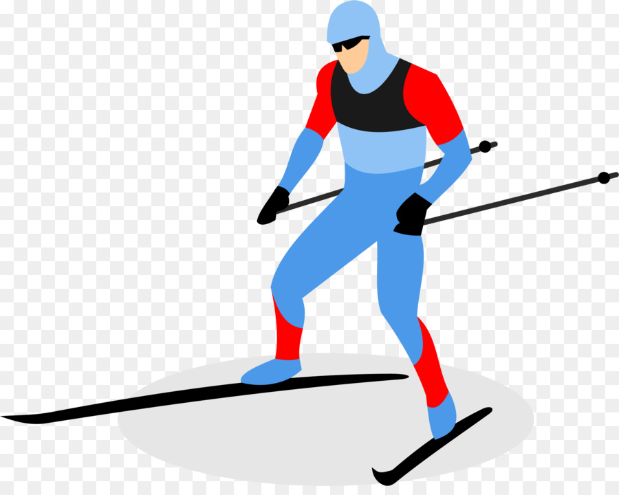 biathlon skiing ski pole - cartoon man skiing png download - 2577
