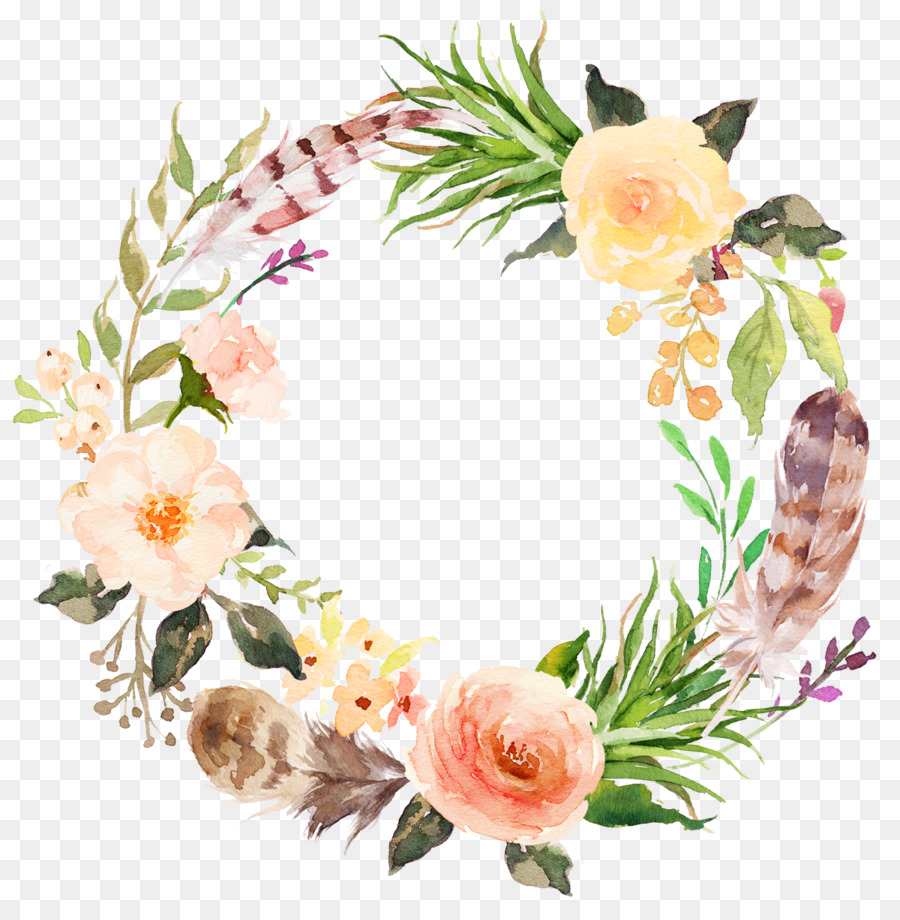 flower clip art watercolor aesthetic style floral wreath png