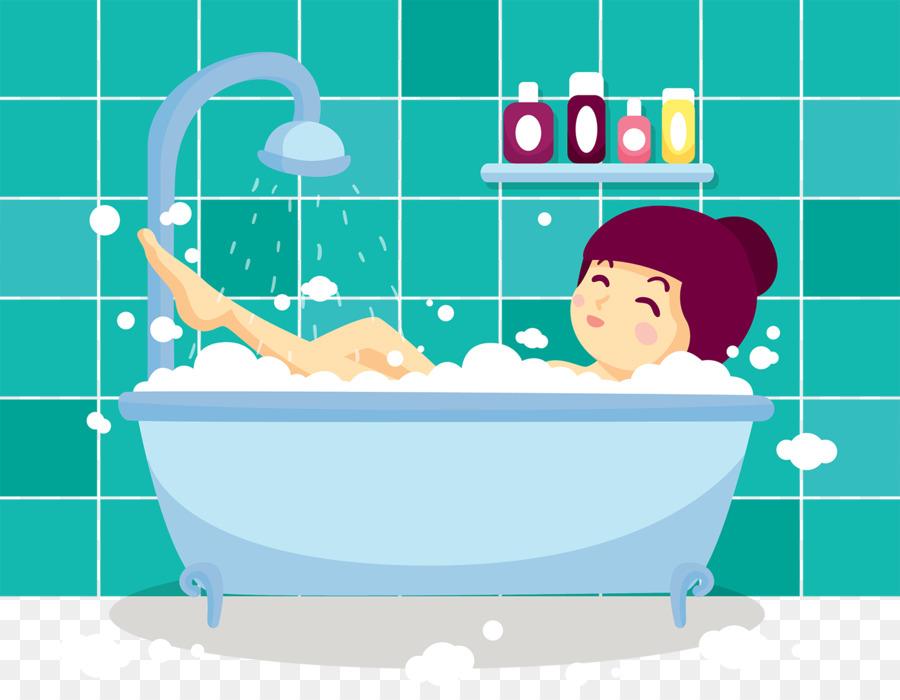 Bathing Bathroom Bubble bath Bathtub Towel - Cute cartoon bubble ...