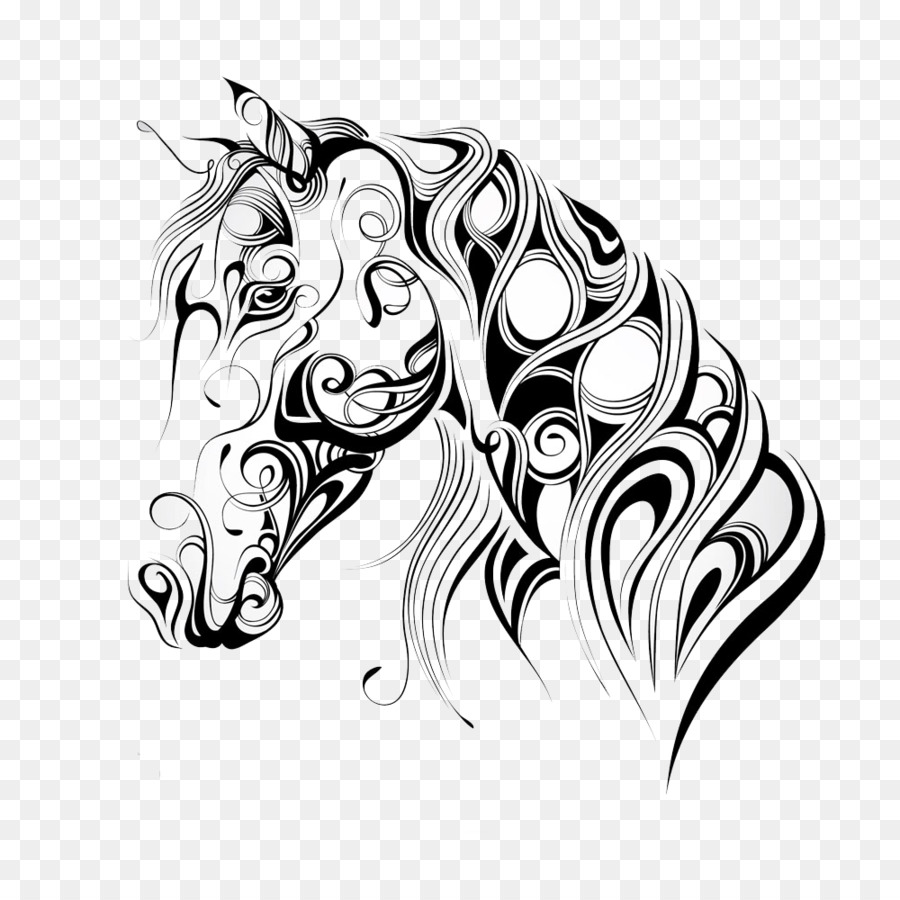 American Quarter Horse Mustang Silhouette Horse head mask - Cartoon ...