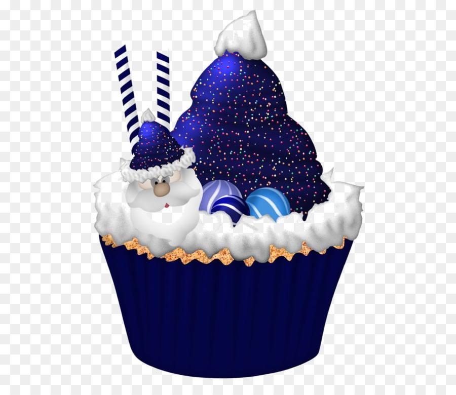 Cupcake Christmas Cake Birthday Cake Clip Art Blue Santa Claus