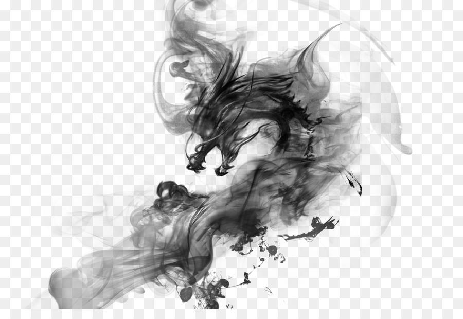 china ink dragon - ink chinese dragon png download
