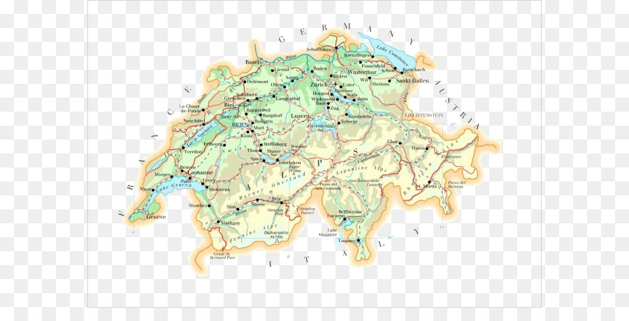 Switzerland World Map Topographic Map Switzerland Map Png Download