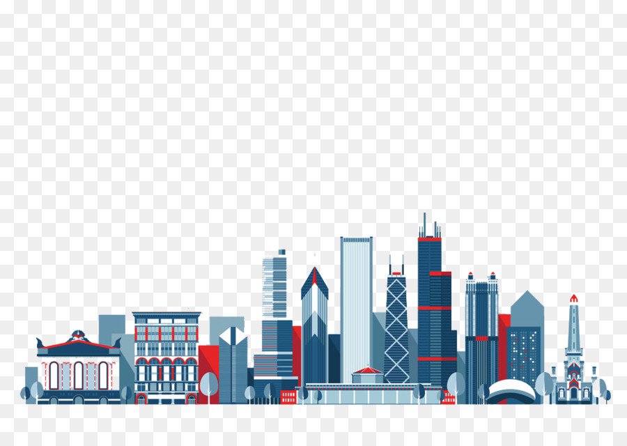 Chicago, Nueva York De La Ciudad Silueta Ilustración - Rascacielos ...