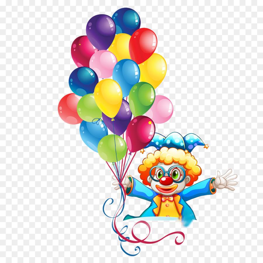 Birthday Cake Balloon Party Clip Art Take A Balloon Clown Png