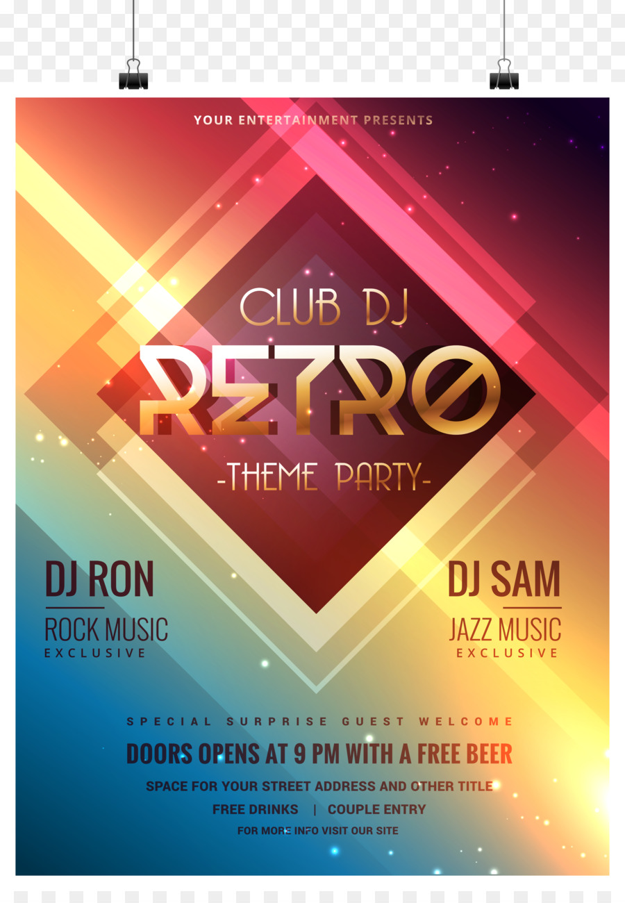 Flyer Template Poster Party - Bar Party poster vector material png ...