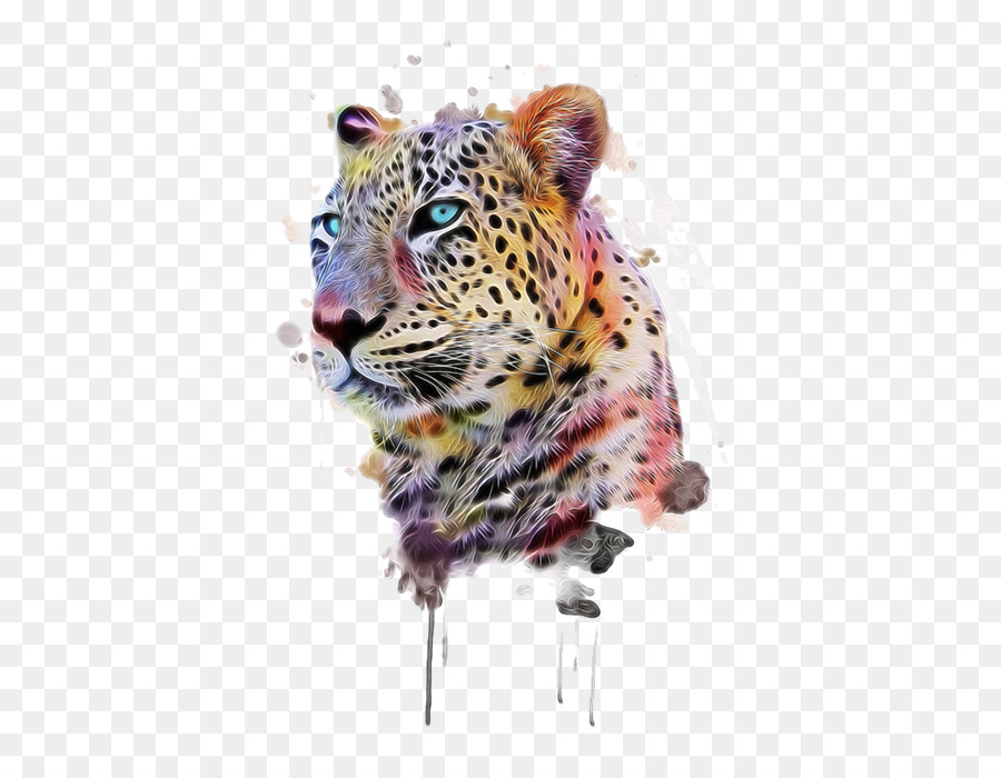 2a4fade62e8 Leopard T-shirt Animal print Illustration - Hand-painted cheetah png ...