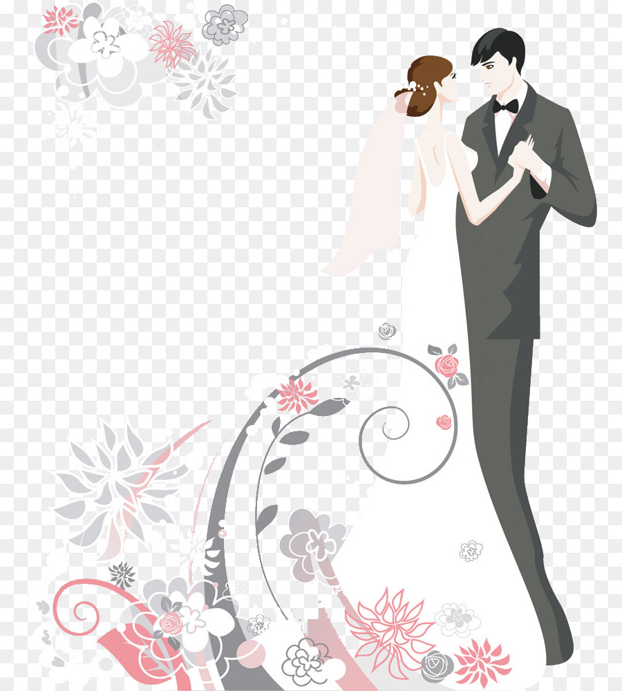 Wedding invitation Wedding cake Clip art - Cartoon couple pictures ...
