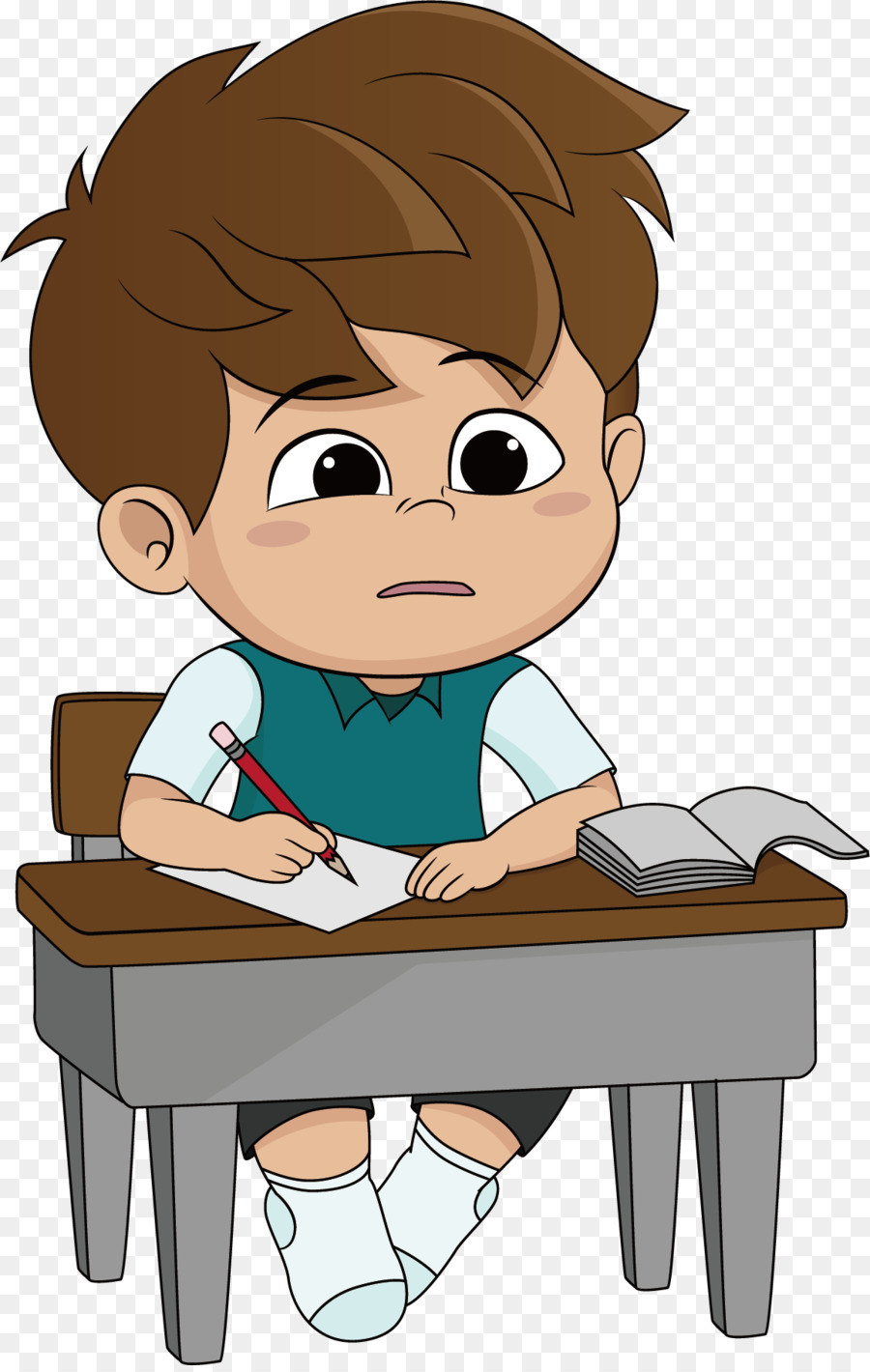 Cartoon Homework Illustration Thinking Png Download