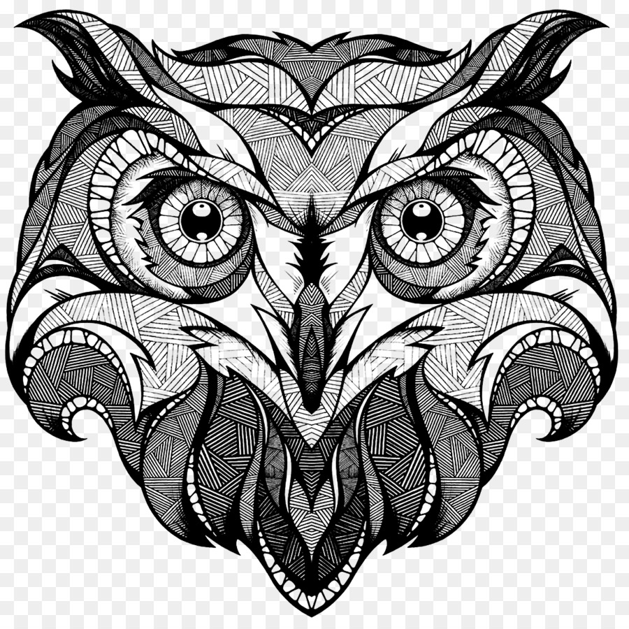 Owl Drawing Coloring Book Totem Illustration