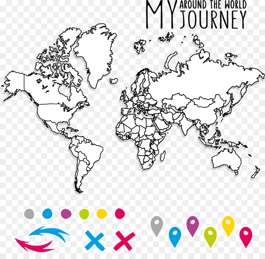 World map Coloring book Blank map - Vector world map puzzle png ...