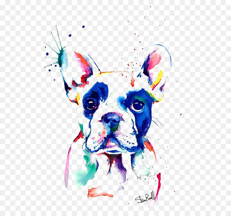 Bulldog francés de pintura a la Acuarela Dibujo - Bulldog Formatos ...