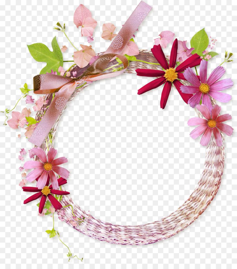 Marco de foto de la Flor - Floral Redondo Marco PNG imágenes ...