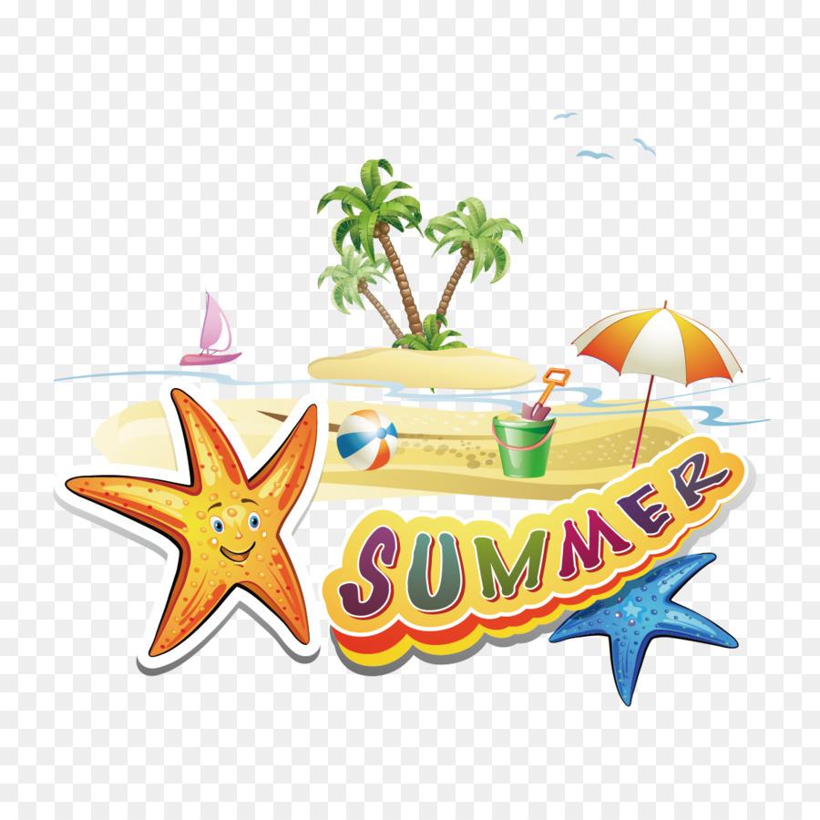 Beach Cartoon Clip art - Creative Summer Vacation png ...