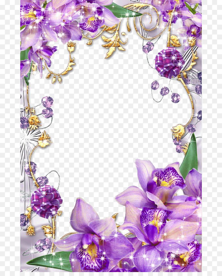 Paper Flower Purple Picture Frame Clip Art Purple Border