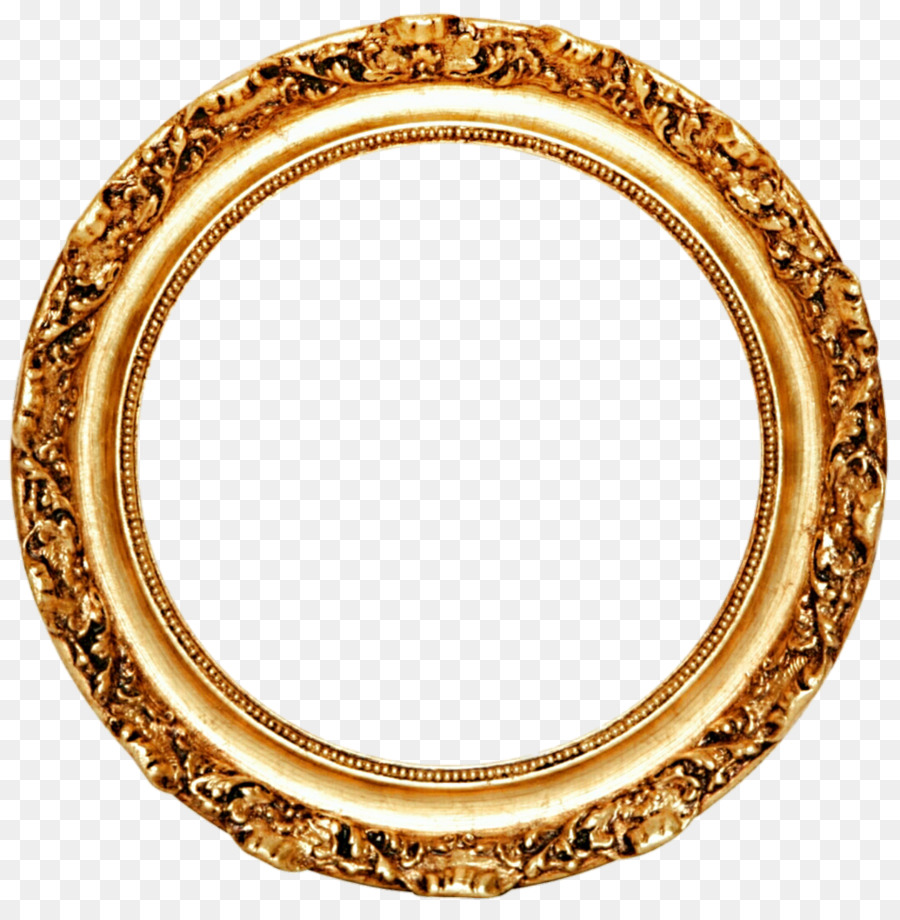 Picture frame Mirror Circle Gold leaf - Golden Round Frame PNG ...
