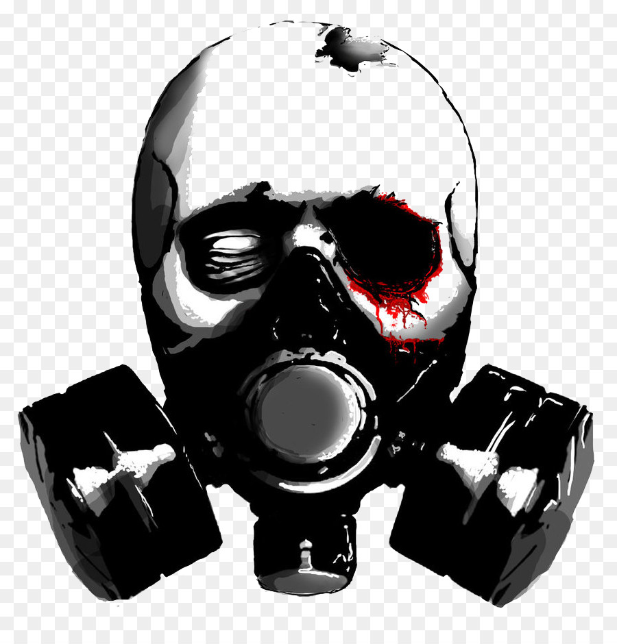 Stencil Gas Mask Skull Drawing