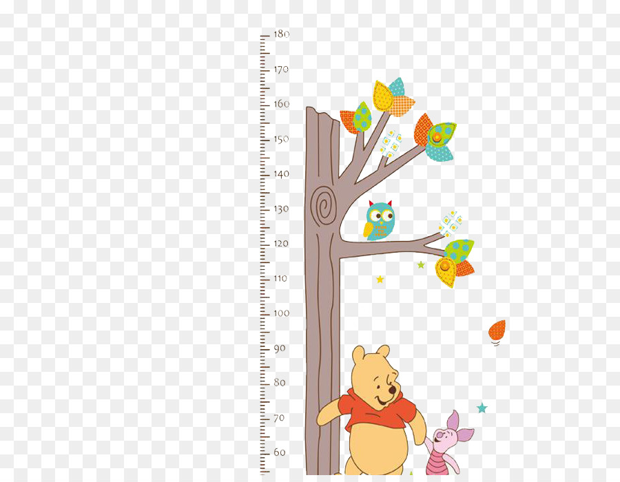 Growth Chart Wall Decal Child Sticker Winnie The Process Of Growth