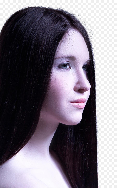 frau lange schwarze haare