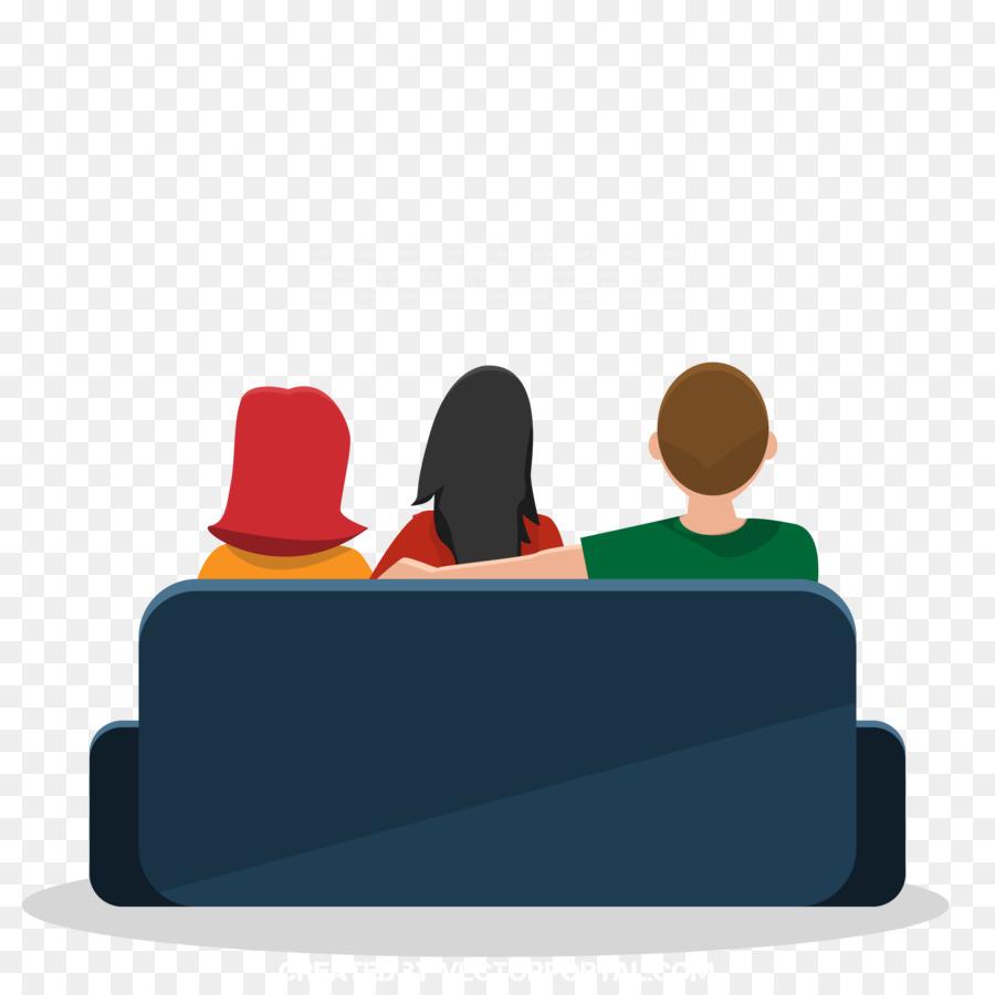 Cartoon Fernseher Sitzen Cartoon Familie Sitzt Auf Dem Sofa Vor