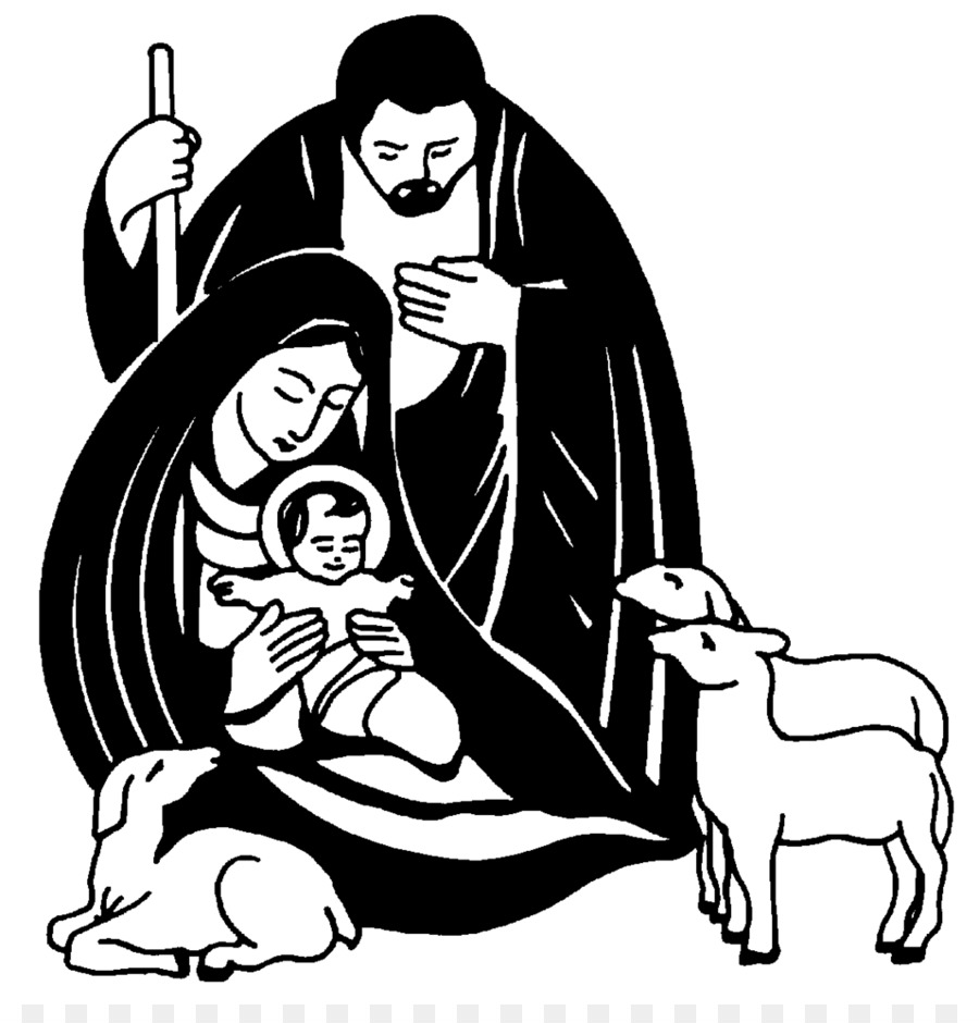 Escena de la natividad la Natividad de Jesús de Navidad en blanco y ...