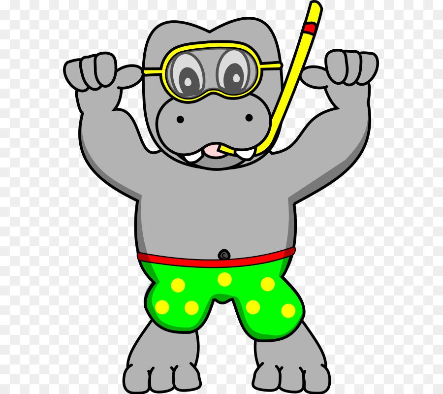 La Plongée En Apnée De Lhippopotame Masque De Plongée Clip Art
