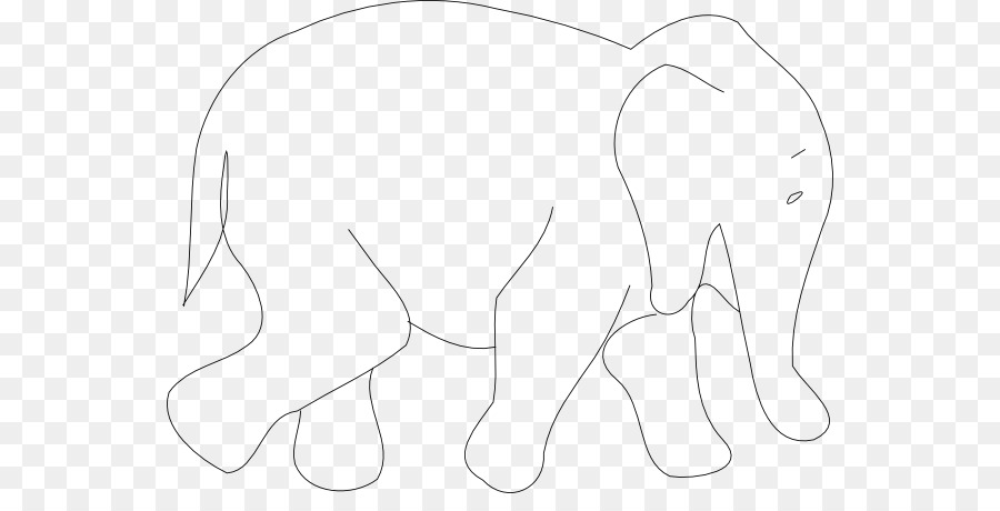 Line Black and white Angle Point - Elephant Outlines png download
