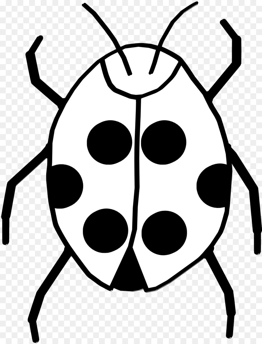 Black And White Insect Ladybird Clip Art White Flower Clipart Png
