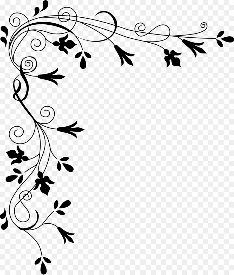 flower black and white clip art - corner border png png download - 2039 2400