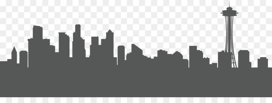 Seattle Skyline Silhouette Clip Art Town Png Transparent