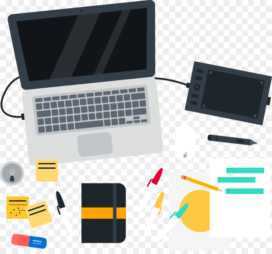 Graphic Design Desk Flat Vector Laptop