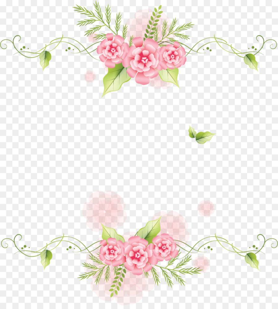 Download Icon - Pink flowers green leaf frame decoration png ...