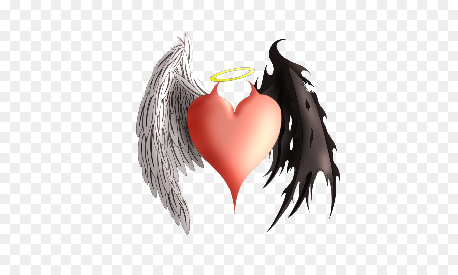 Devil Angel Heart Demon Tattoo Angels And Demons Png Download