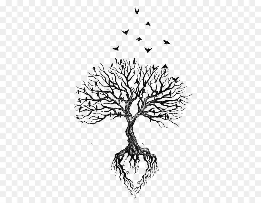 e2c5f26bde88d Tree Root Tattoo Bird Heart - Withered crow flies png download - 495 ...