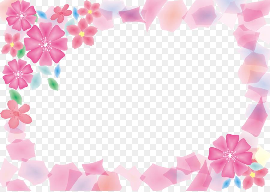 Crane Game Toreba Pink flowers - Romantic Pink Frame Border png ...