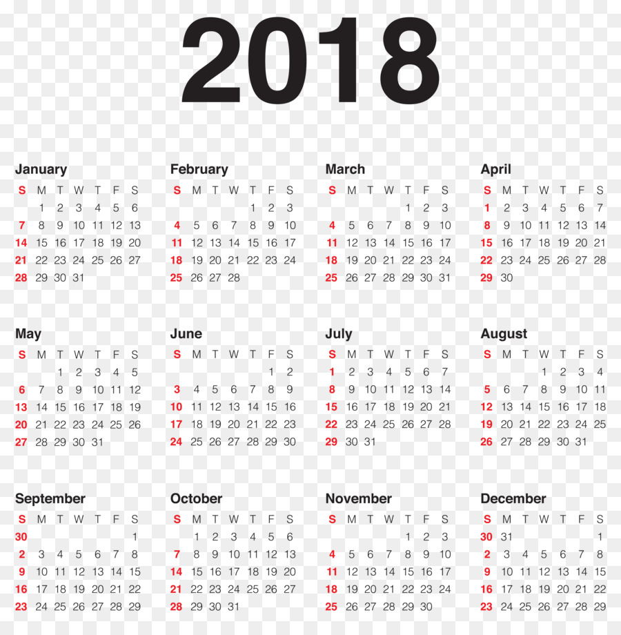 New Year Calendar Wish Party - 2018 Calendar Transparent PNG Clip ...