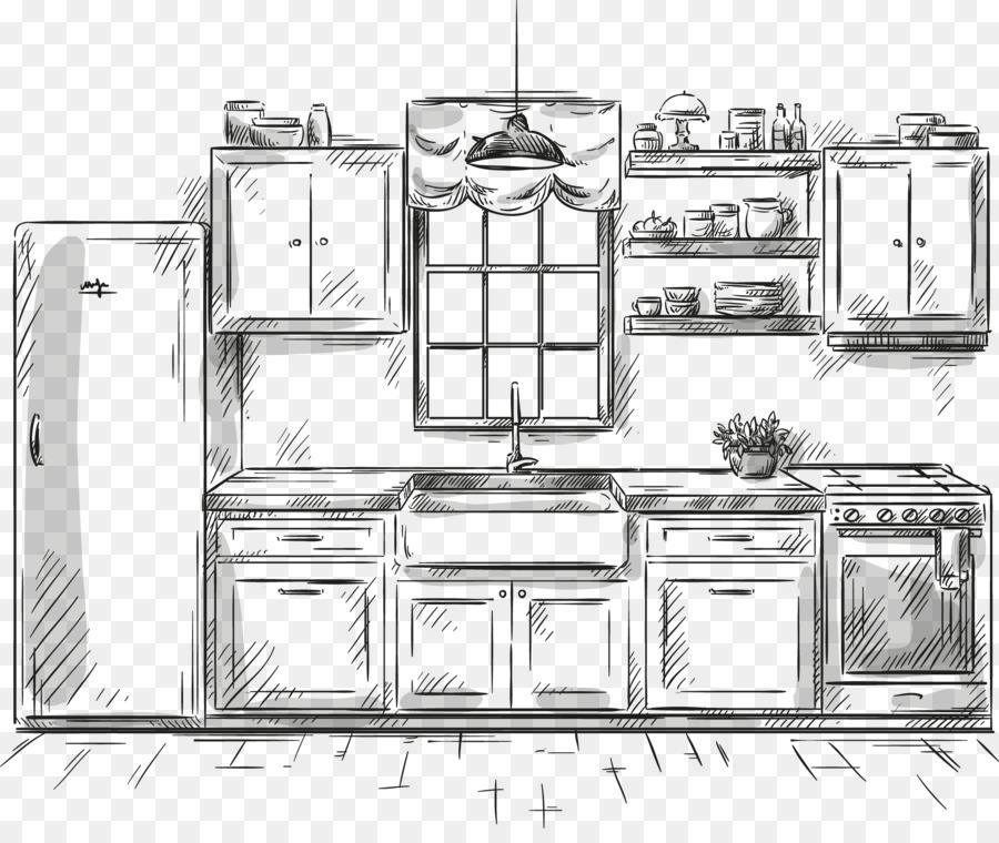 Dibujo De Muebles De Cocina De La Ilustración - Pintado a mano de la ...