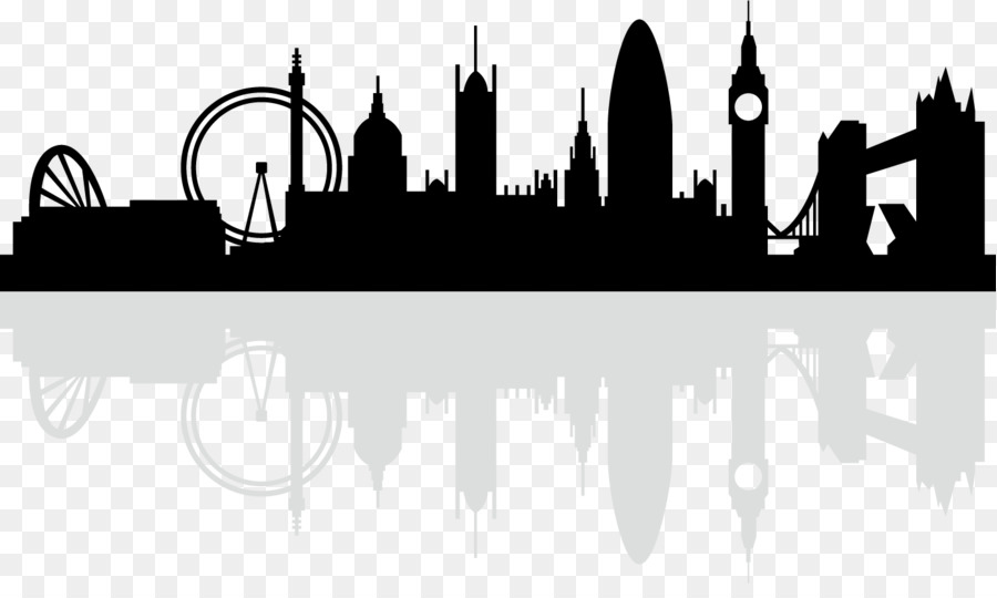 London Skyline Silhouette Royalty Free