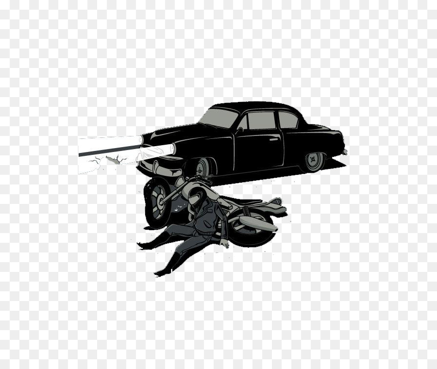 Drawing Poster T-shirt - Black simple car accident png download ...