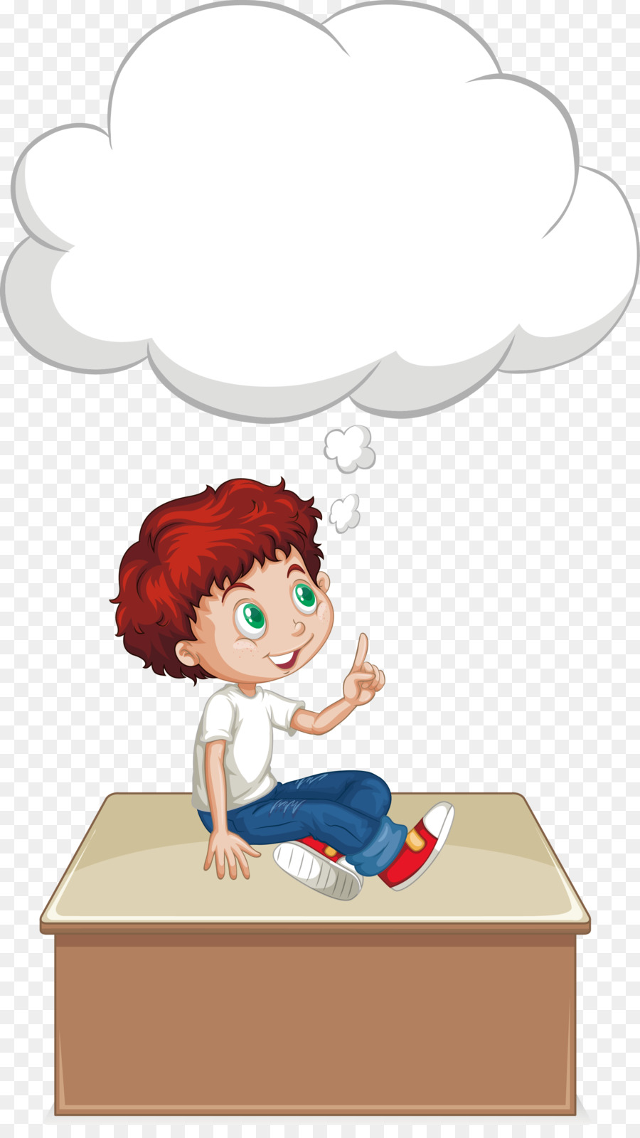 boy euclidean vector thought illustration vector sitting on the