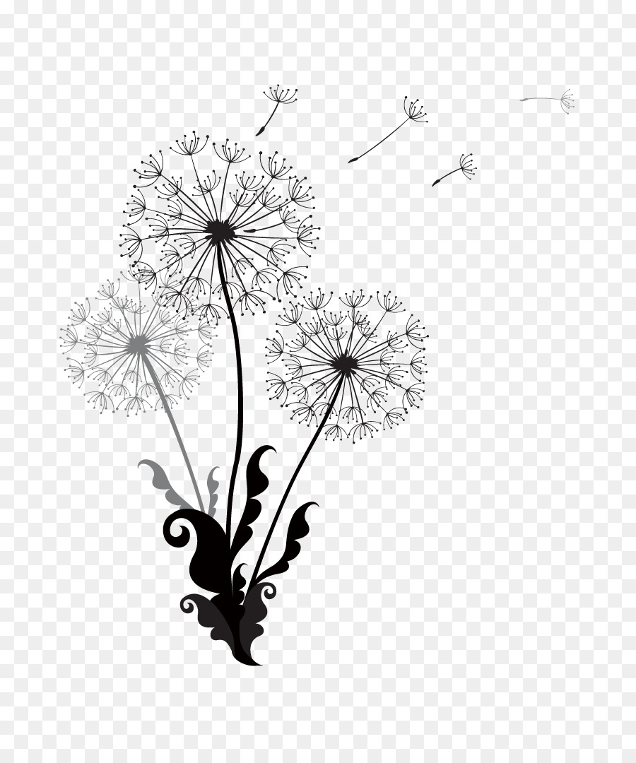 Dandelion euclidean vector vector black and white dandelion
